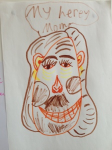 My herey (hairy) Mom: a recent portrait handed to me with love...