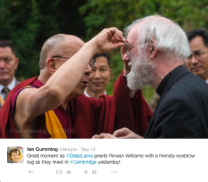 Beautiful shot taken and tweeted by Ian Cumming: a playful public eyebrow tug - only accepted from toddlers and the Dalai Lama